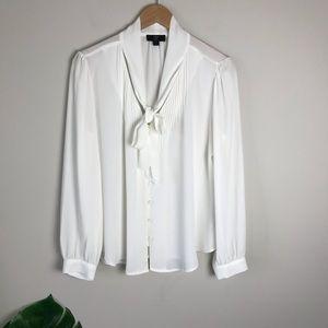 J CREW 365 Drapey Tie Neck Long Sleeve Top White